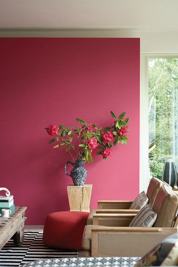 Wall painted in Farrow and Ball's 'Lake Red'