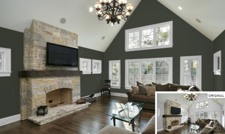 Living room walls painted with Sherwin William's 'Ripe Olive', one of the 2020 paint color trends