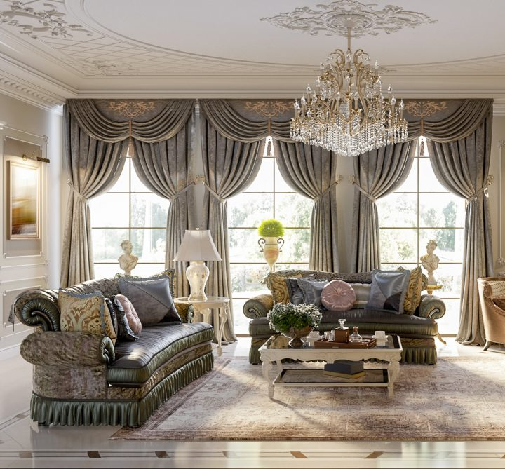 Baroque living room layout with two sofas perpendicular to each other and a large chandelier ©sweetl1 - stock.adobe.com