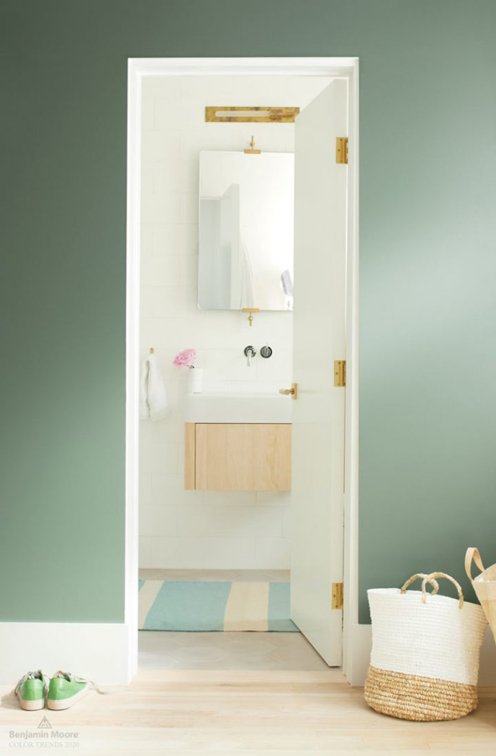 Wall painted with Benjamin Moore's 'Cushing Green', one of the 2020 paint color trends