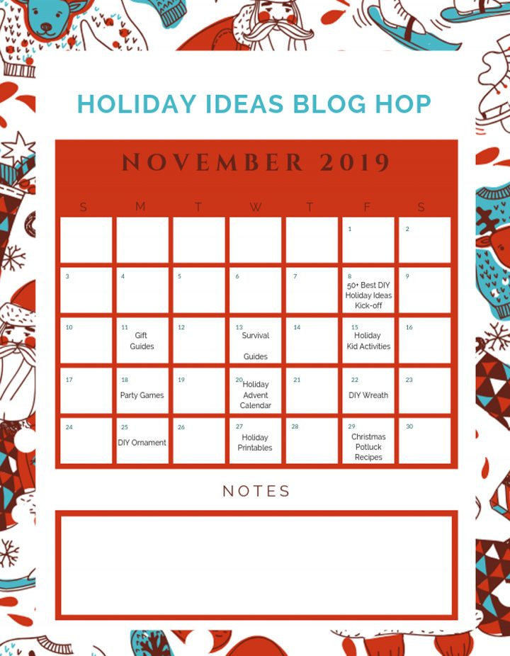 Holiday Ideas November 2019 Calendar