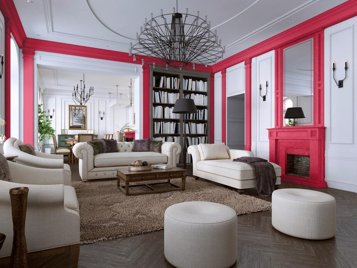 Living room painted with pink accents in Sherwin William's 'Eros Pink', one of the 2020 paint color trends ©ostap25 - stock.adobe.com