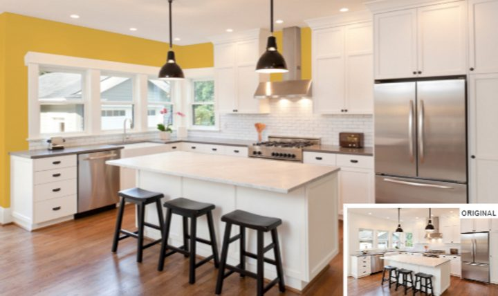 Kitchen painted with Sherwin William's 'Gambol Gold', one of the 2020 paint color trends