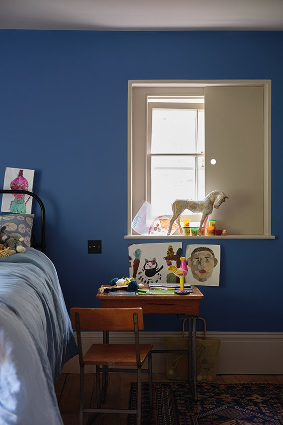 Bedroom painted with Farrow and Ball's 'Ultramarine Blue'