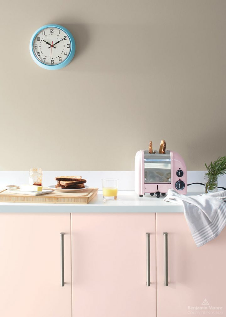 Kitchen wall painted in Benjamin Moore's 'Thunder', one of the 2020 paint color trends