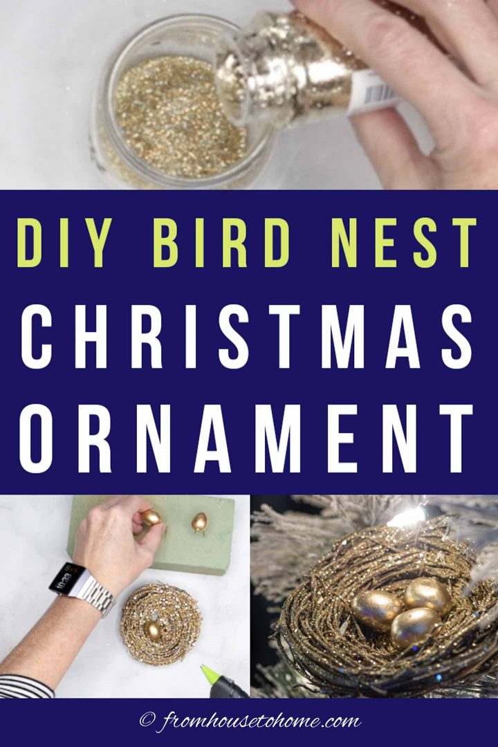 Glam gold and glitter DIY bird nest Christmas ornament