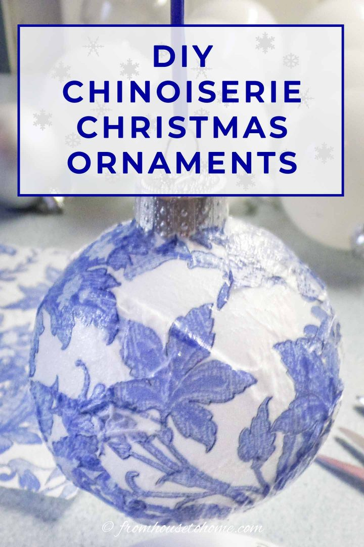 Blue and white DIY Chinoiserie Christmas ornament