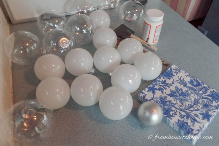 DIY Chinoiserie Christmas ornaments supplies