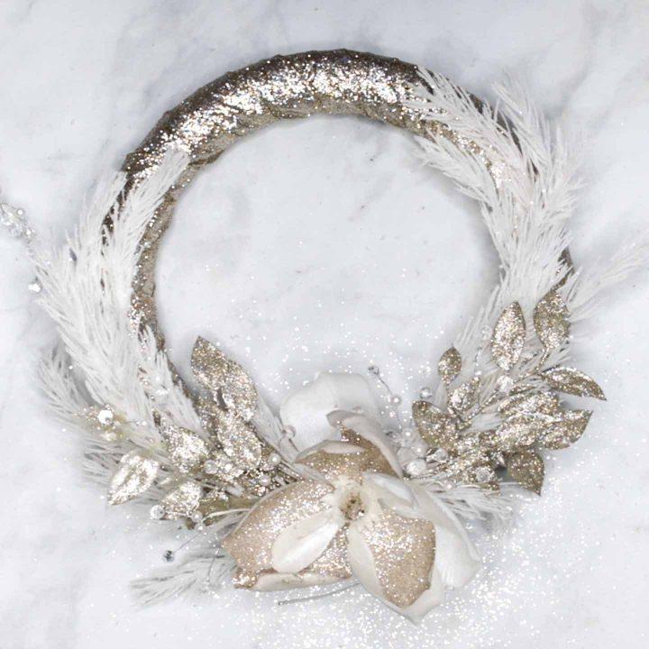 Glam glittery gold Christmas wreath