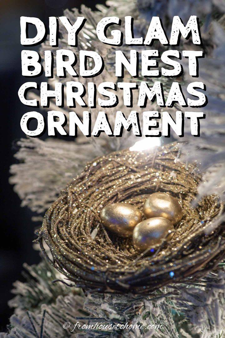 DIY gold bird's nest Christmas ornament