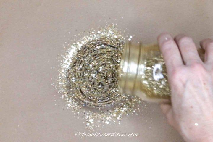 Glitter sprinkled on twig nest