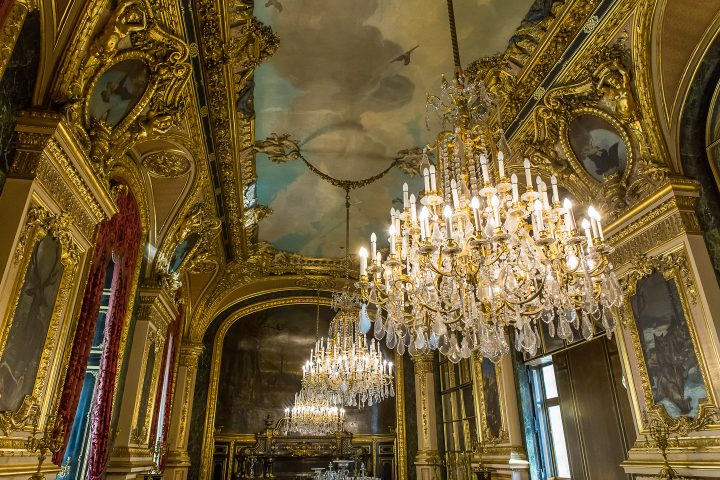 Chandeliers and ceiling at Versailles