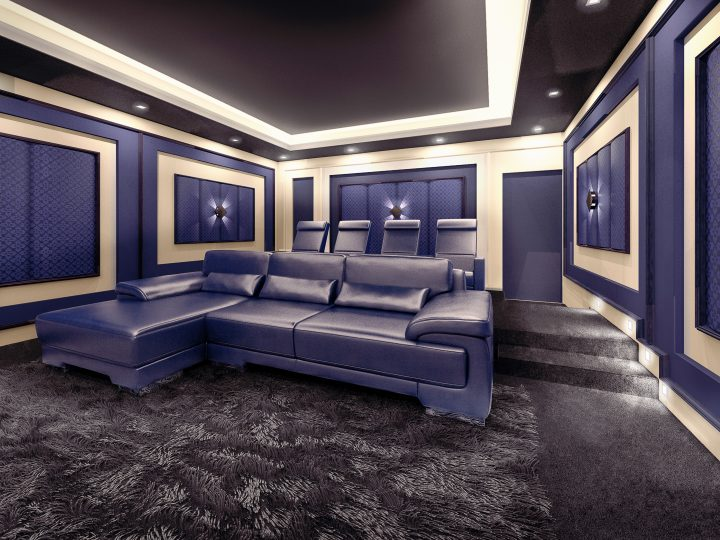 Home theater with sectional sofa and theater style chairs ©sveta - stock.adobe.com