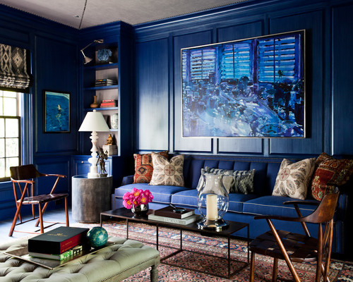 Blue living room walls and sofa