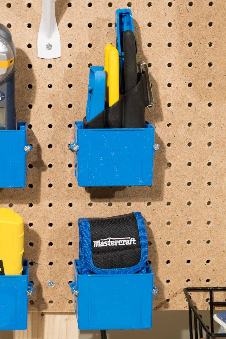 Electrical boxes used as DIY pegboard baskets