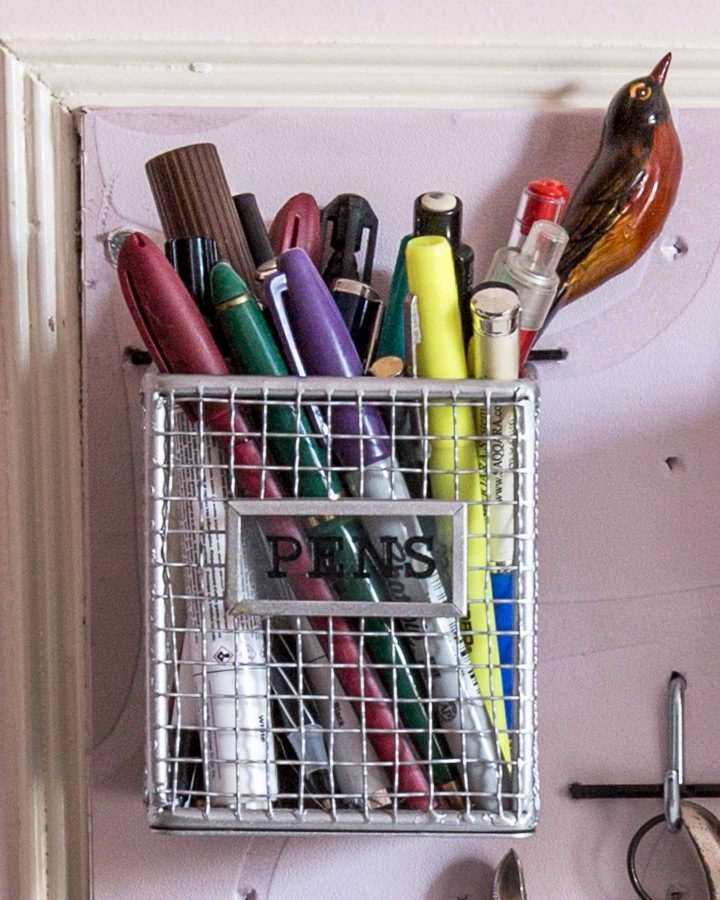 Pencil holder used as a DIY pegboard basket