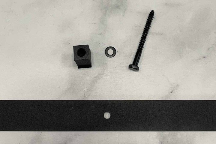 Parts from the barn door kit