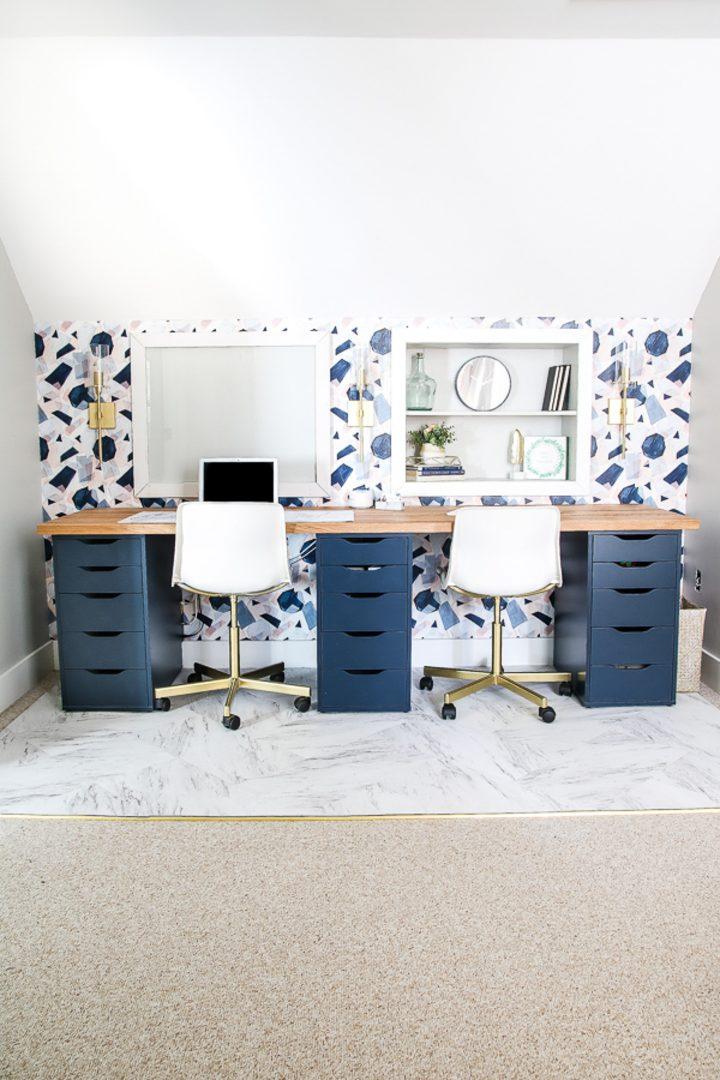 Long desk under a bonus room slanted roof