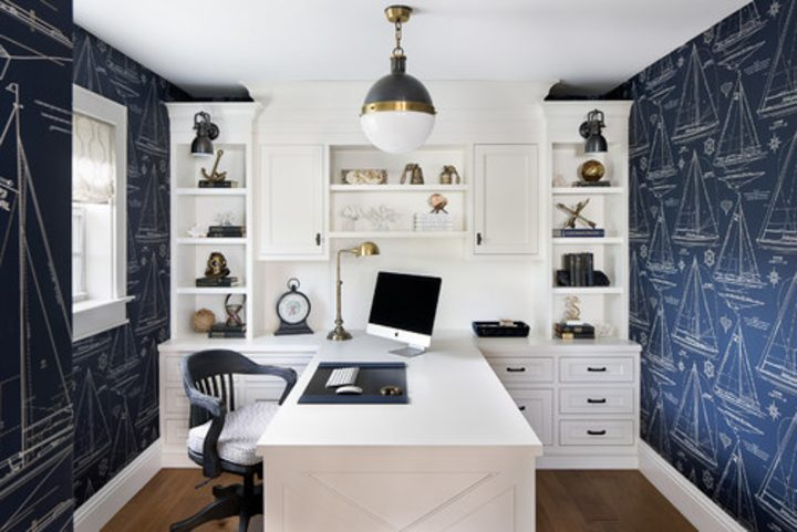 Small home office with nautical theme