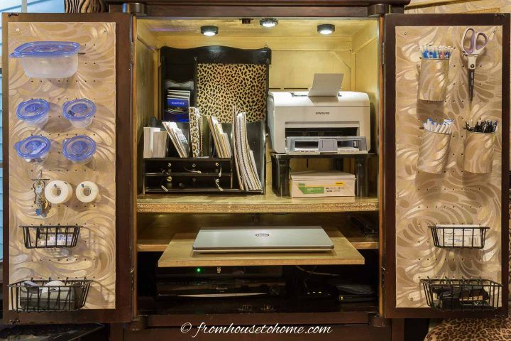 Armoire that has been converted into a small home office