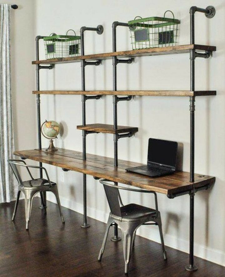 Small home office desks built in with industrial shelves