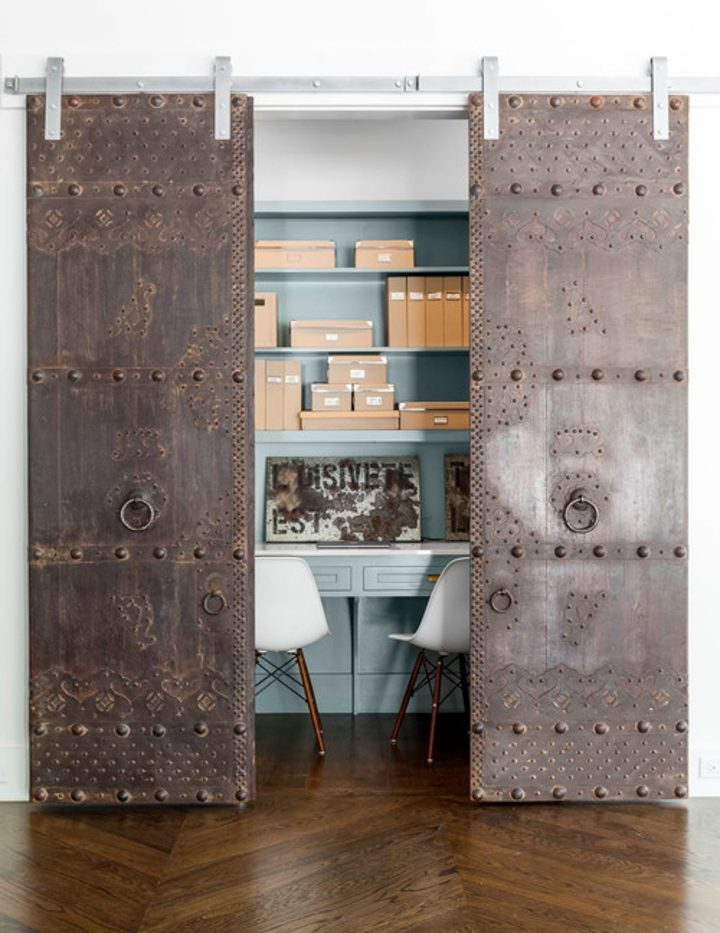 Closet home office with sliding barn doors
