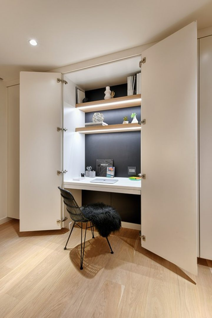 Closet home office with doors and lights under the shelves