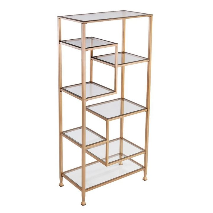 Geometric gold home office bookcase unit with glass shelves