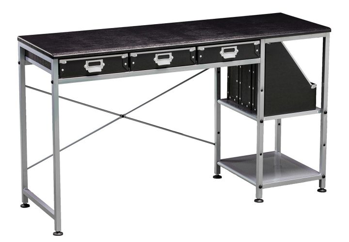 Black and silver industrial-style desk