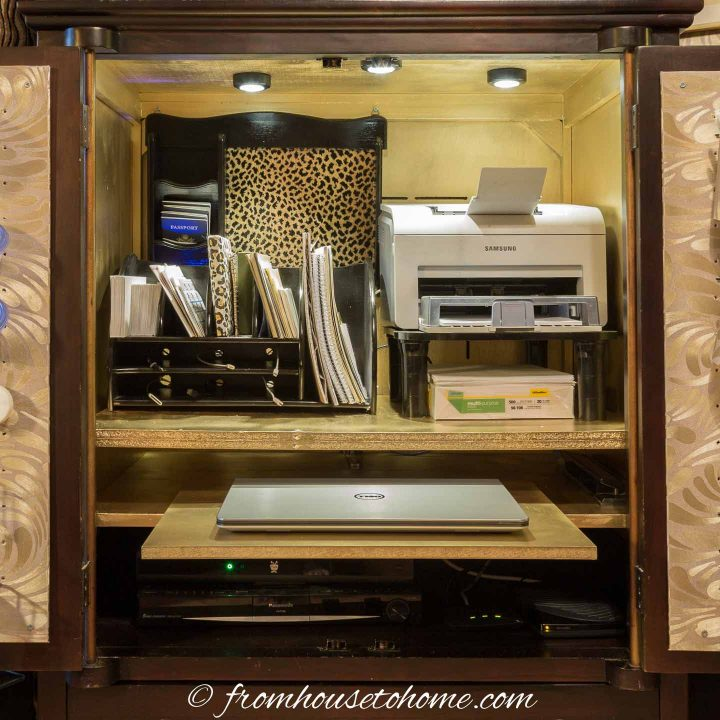 A mini home office in an armoire