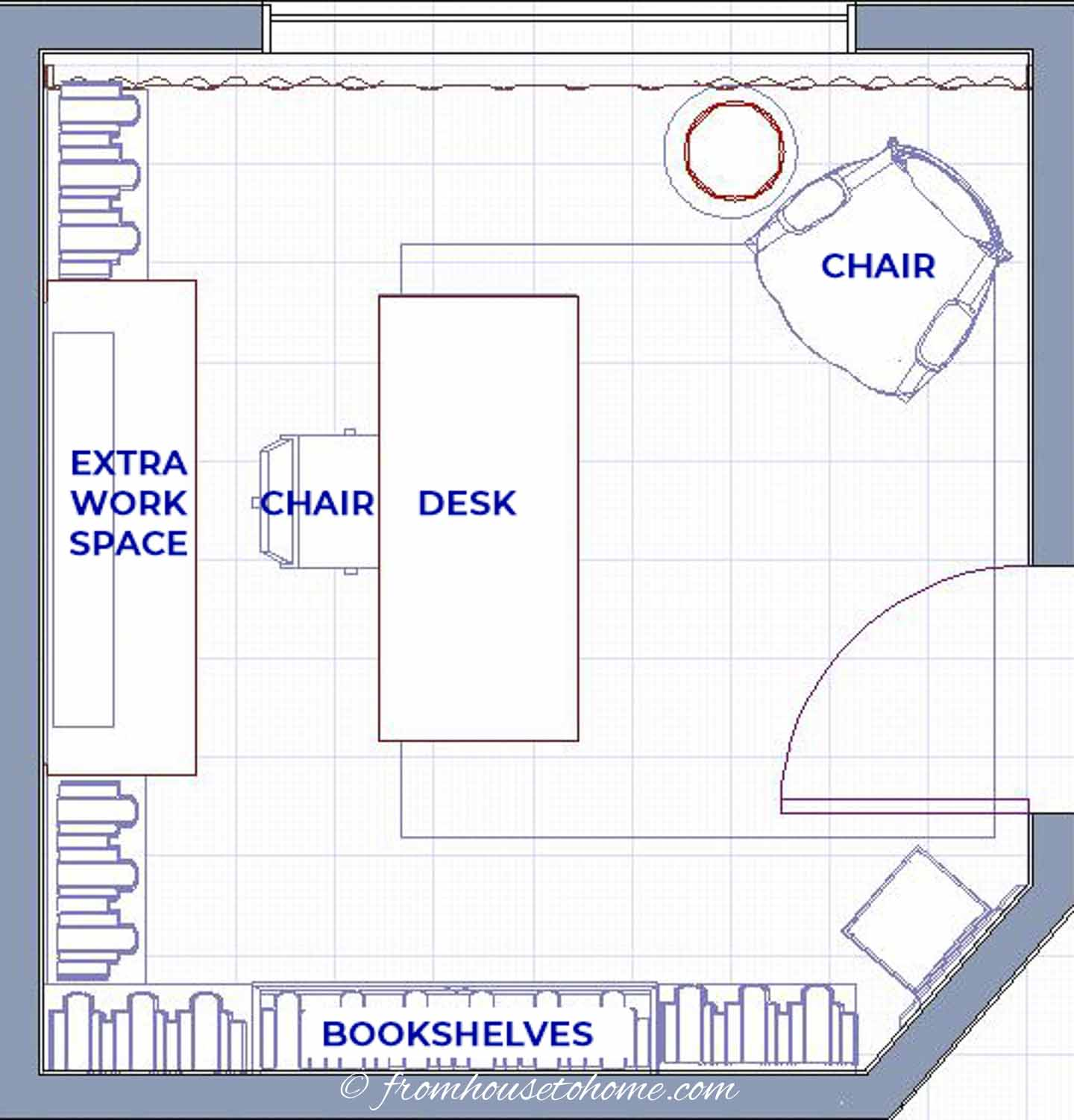 Galley desk and work space small home office layout