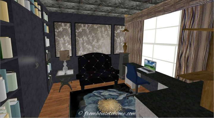 3-D rending of a small home office layout with a oouch