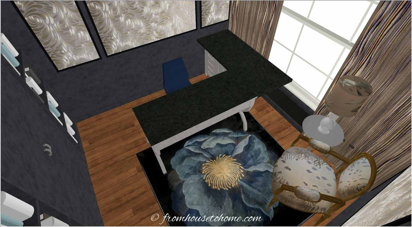 3-D rending of an L-shaped desk and a sitting area