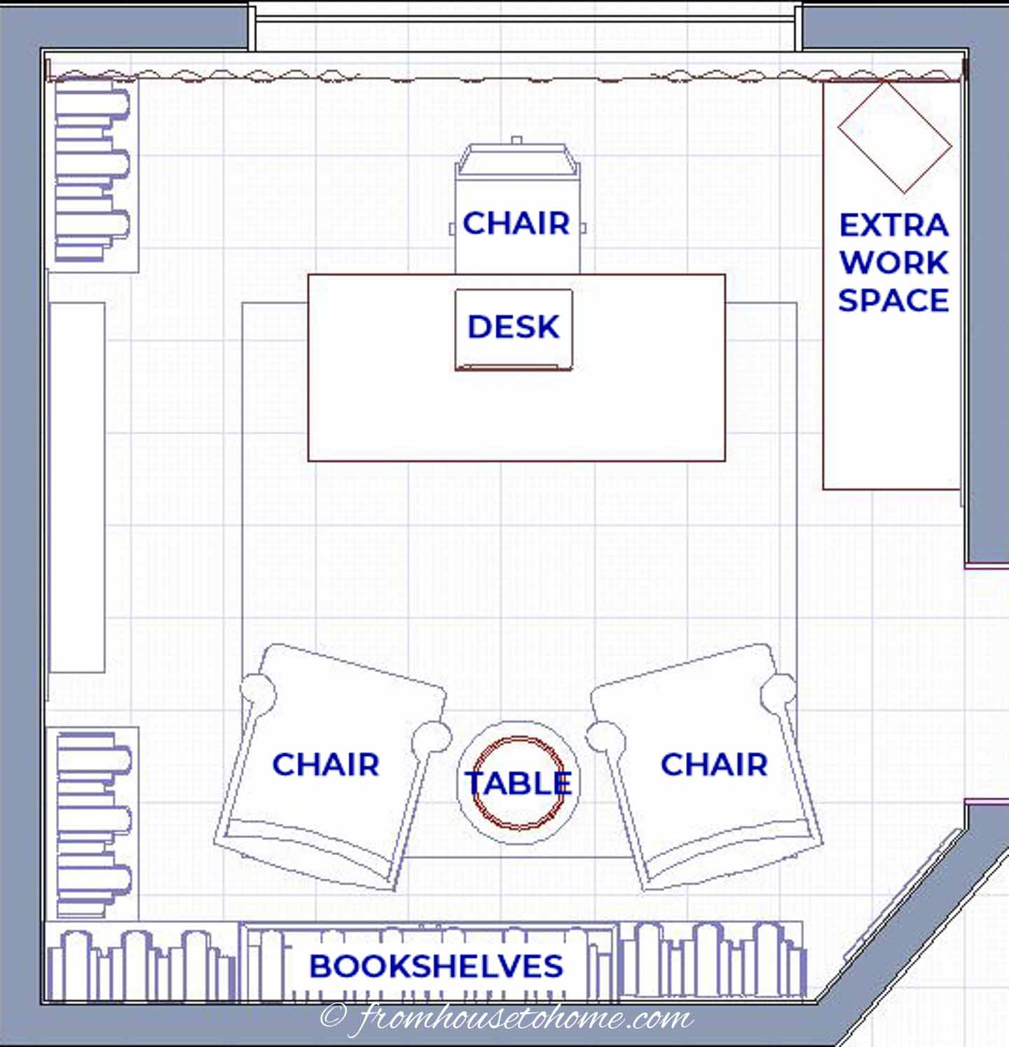 Traditional small home office layout with 2 chairs and an extra work space