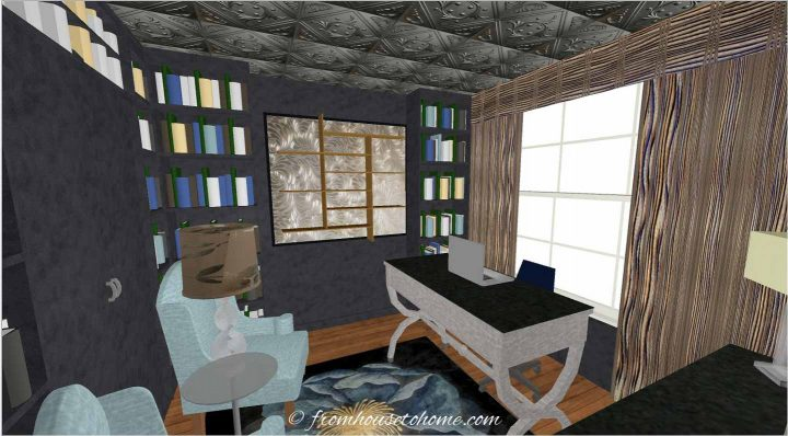 3-D rendering of a traditional home office layout with 2 chairs and an extra work space