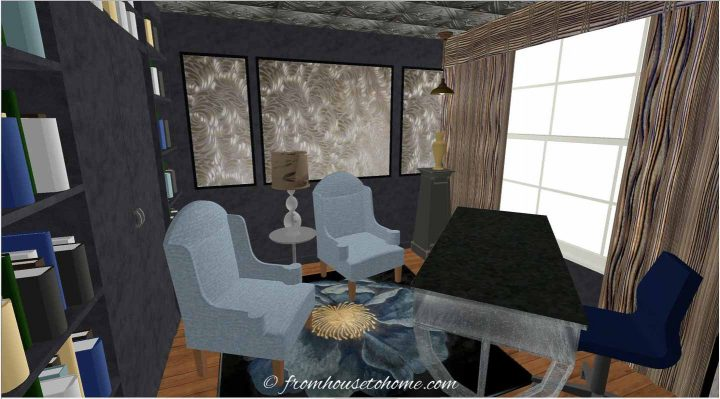 3-D rendering of a small home office layout on the diagonal