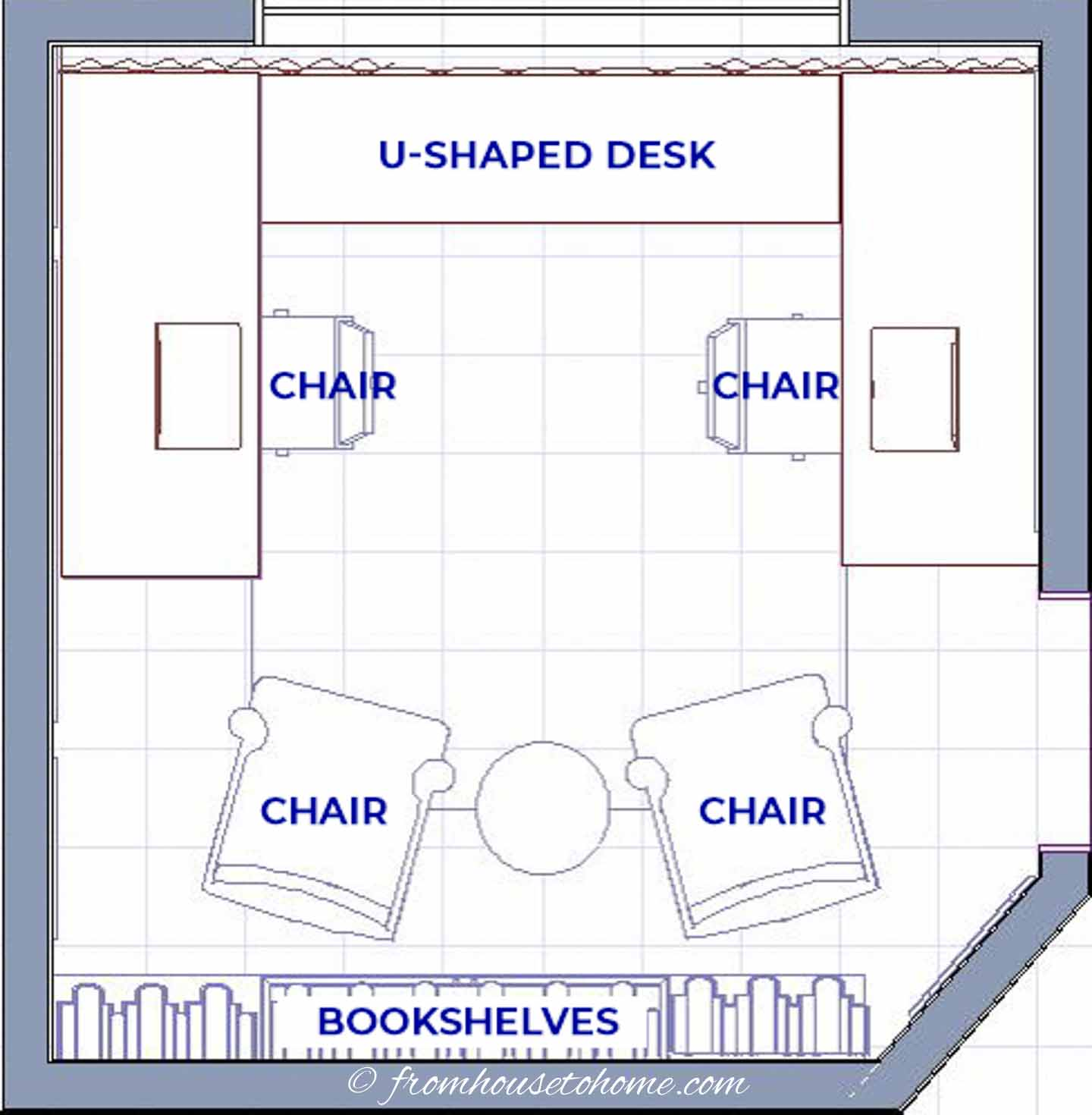 U-shaped desk with two work spaces
