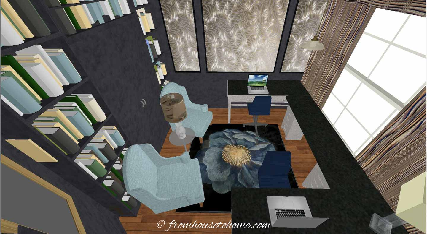 3-D rendering of a U-shaped desk in a small home office layout