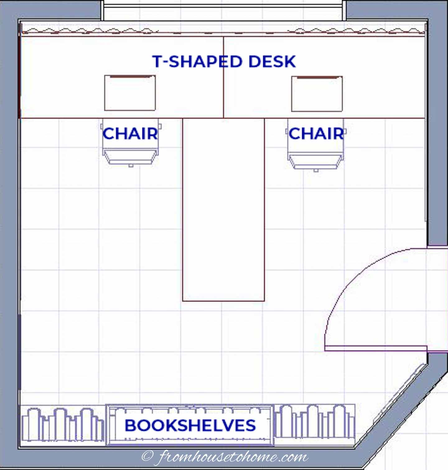 T-shaped desk in a small home office configuration