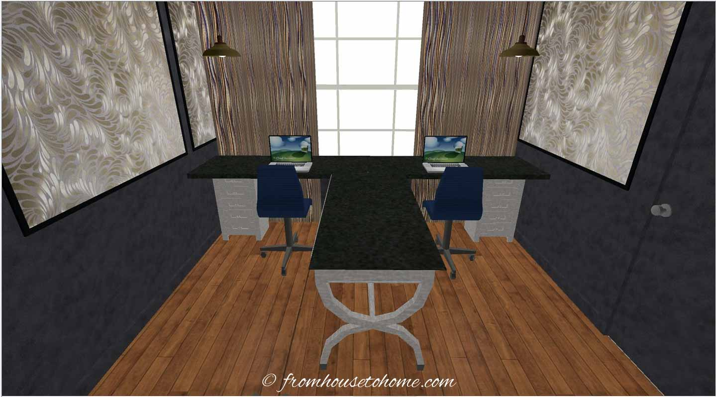 3-D rendering of a T-shaped desk in a home office design layout