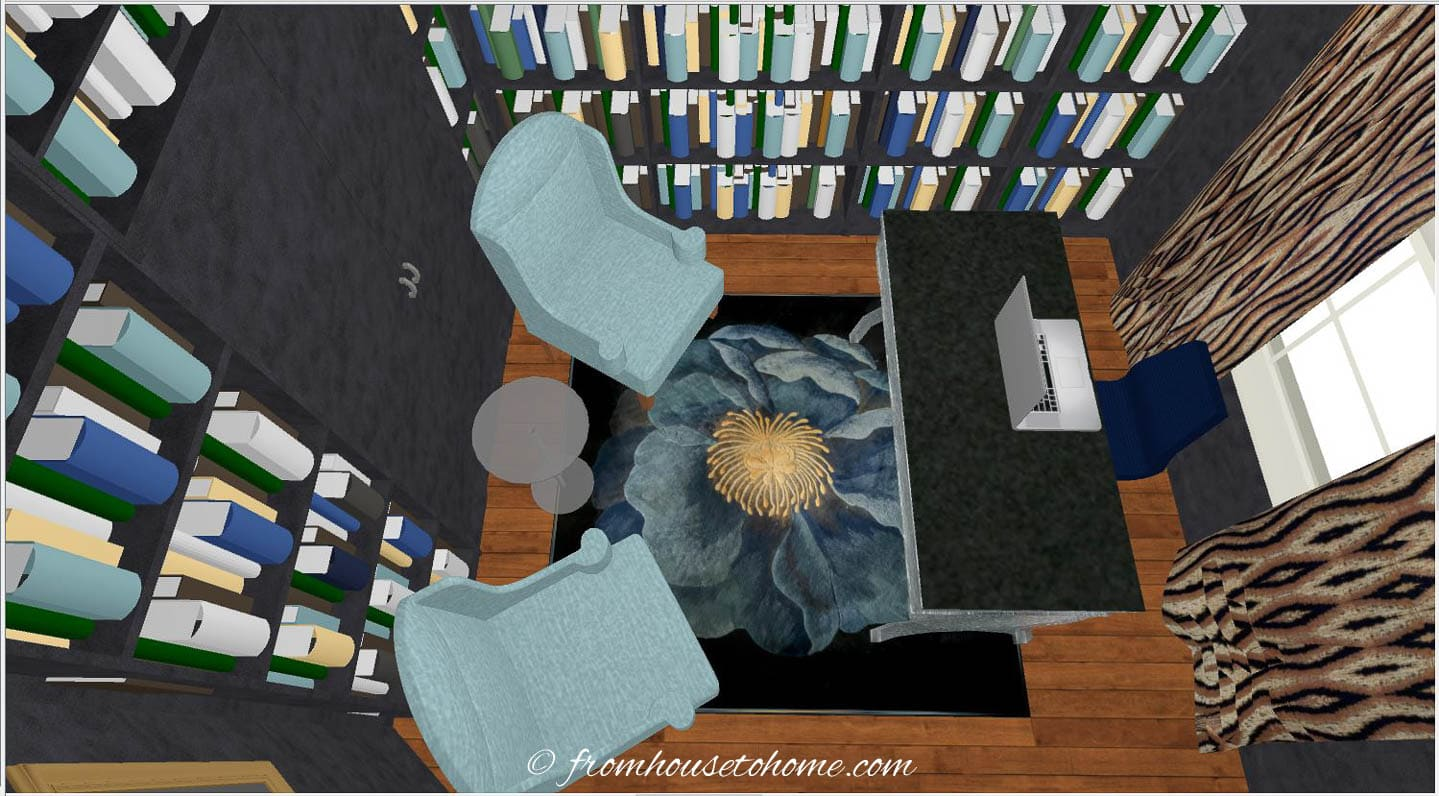 small home office layout with a desk, two chairs and lots of bookshelves