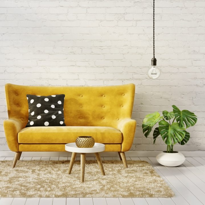 Mid-century modern living room with yellow sofa