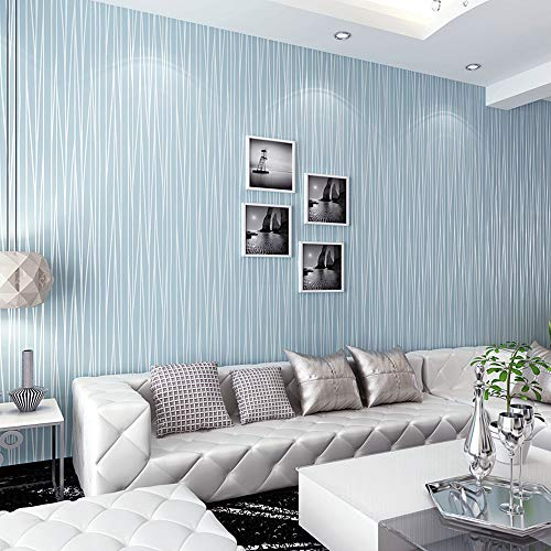 Blue and silver striped wallpaper in a living room