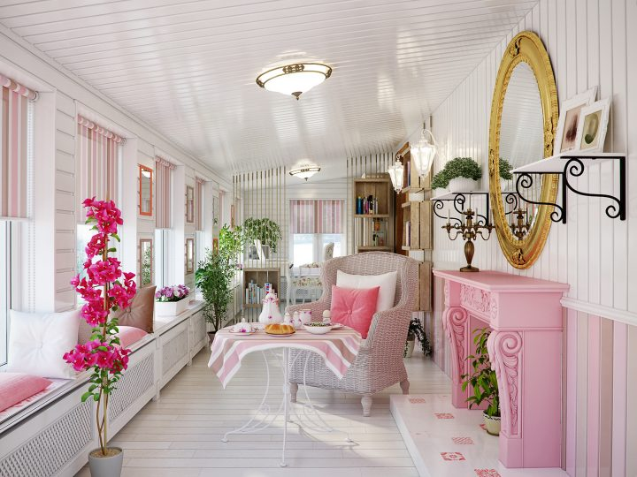 Room with pink fireplace, window blinds and wainscot