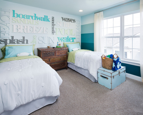 Beach style bedroom with painted ombre stripes