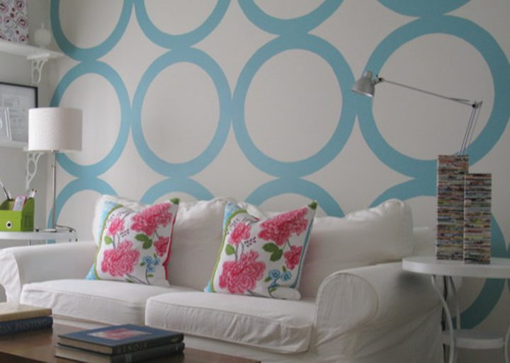 Living room walls painted with large round circles via houzz.com