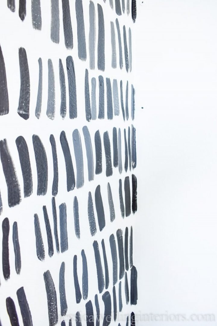 Black and gray lines painted on a white wall from jessicawellinginteriors.com