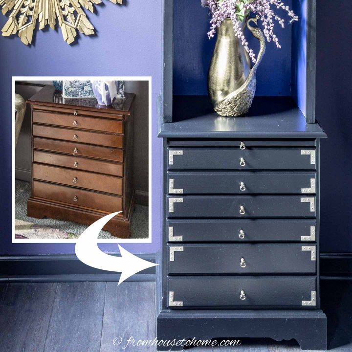 Before and after furniture makeover of a bedside table