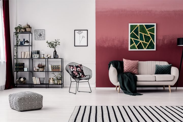 Color blocked wall in a living room