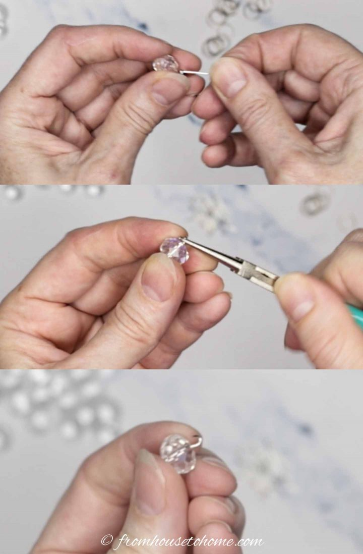 Adding eye pin to crystal bead without closing the loop